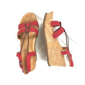 Naya red leather wedge sandals size 10